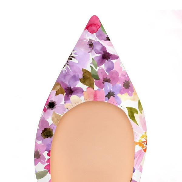 Women's Colorful Floral Pointed Toe Comfortable Flats image 4