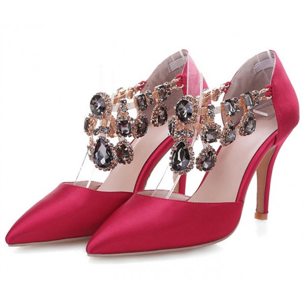 Red Satin Evening Shoes Jeweled Sandals Pointy Toe Stiletto Heels image 1