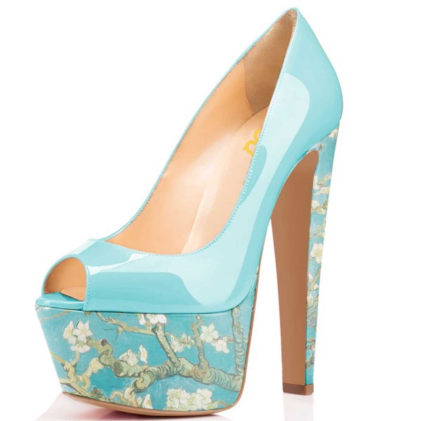 Women's Blue Flowers Printed Pumps Chunky Heels Shoes image 1