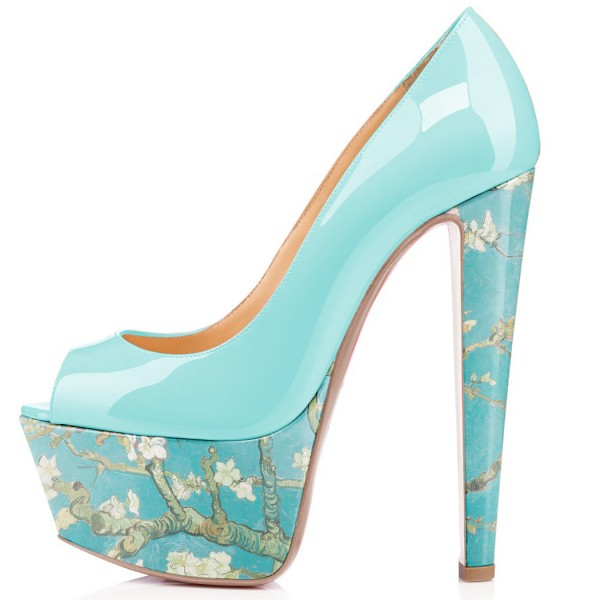 Women's Blue Flowers Printed Pumps Chunky Heels Shoes image 3