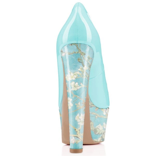 Women's Blue Flowers Printed Pumps Chunky Heels Shoes image 2