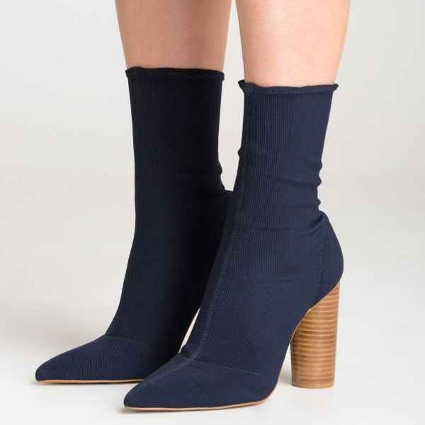 Elastic Navy Blue Boots Pointy Toe Sock Boots Cylindrical Heeled Boots image 1