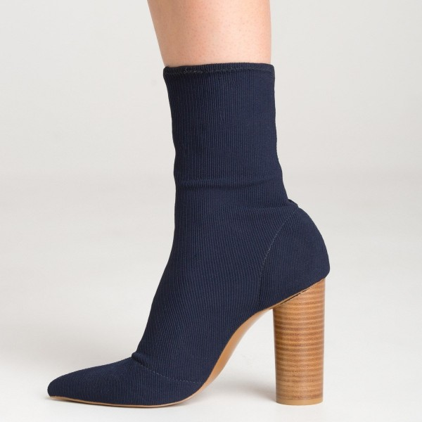 Elastic Navy Blue Boots Pointy Toe Sock Boots Cylindrical Heeled Boots image 3