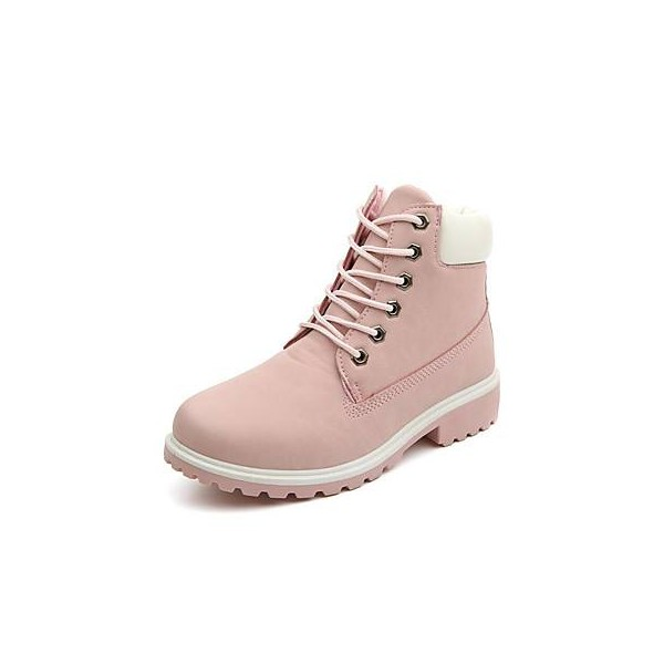 Women's Pink Round Toe Snow Lace Up Comfortable Flats Boots image 1