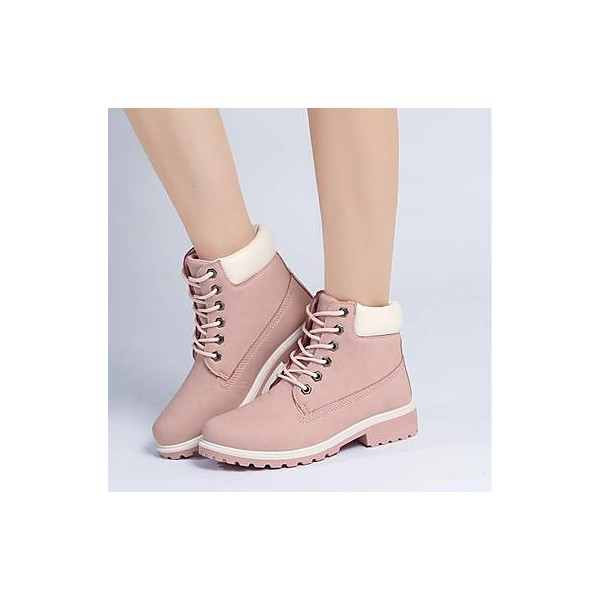 Women's Pink Round Toe Snow Lace Up Comfortable Flats Boots image 2