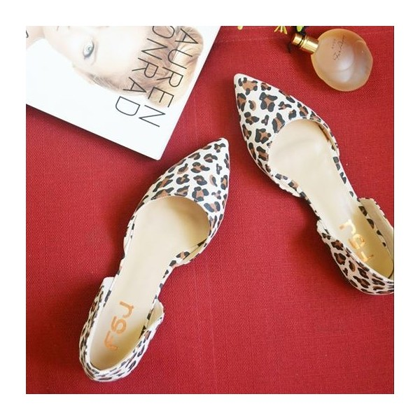 Leopard Print Flats Pointy Toe Double D'orsay Pumps Shoes image 1