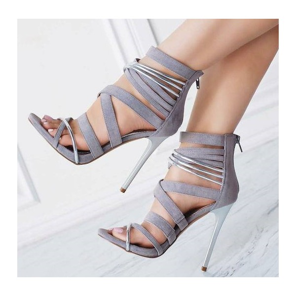 Women's Grey Suede Strappy Stiletto Heels Ankle Strap Sandals image 3