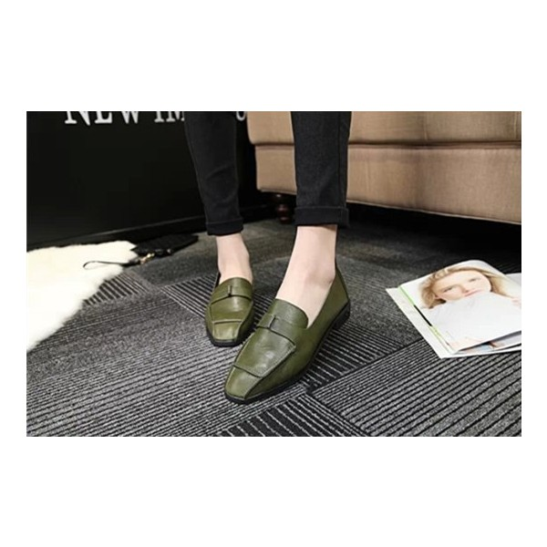 Women's Green Bow Tassels Square Toe Flats Vintage Shoes image 2