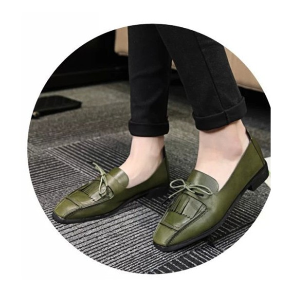 Women's Green Bow Tassels Square Toe Flats Vintage Shoes image 1