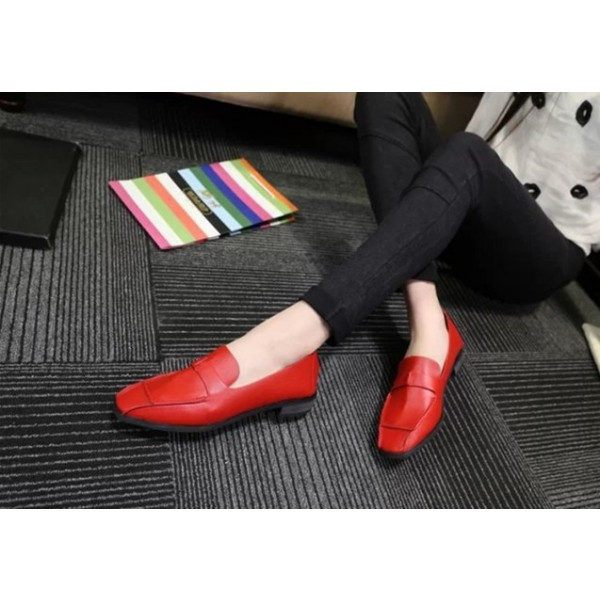 Women's Coral Red Square Toe Comfortable Flats Patent Leather Shoes image 2