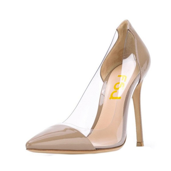 Women's Light Brown Clear Heels Pointy Toe Stiletto Heels Pumps image 1