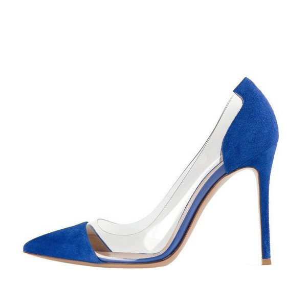 Women's Blue Suede Pointed Toe Stiletto Heel Clear Heels Pumps Shoes image 2