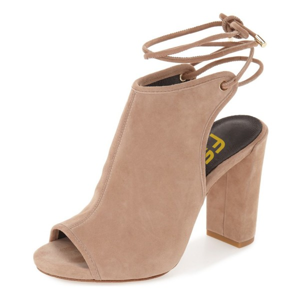 Khaki Slingback Shoes Suede Peep Toe Ankle Booties image 1
