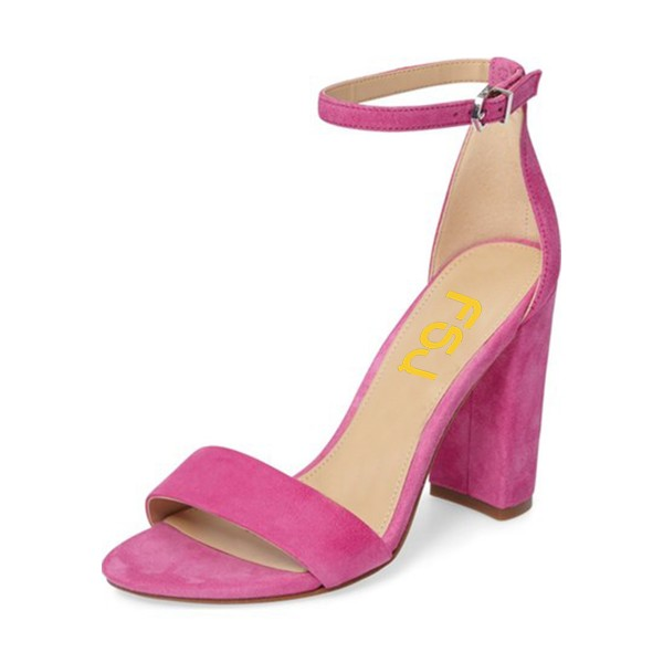 Magenta Ankle Strap Sandals Suede Chunky Heel Sandals image 1