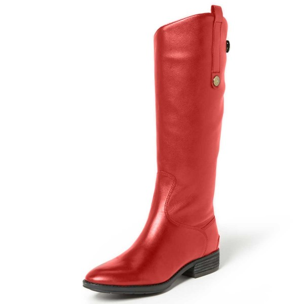Red Shiny Vegan Boots Fashion Comfy Flat Boots with Side Pull Tab image 1