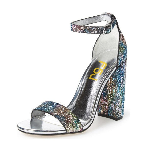 Women's Silver Dazzling Open Toe Chunky Heel Ankle Strap Sandals image 1