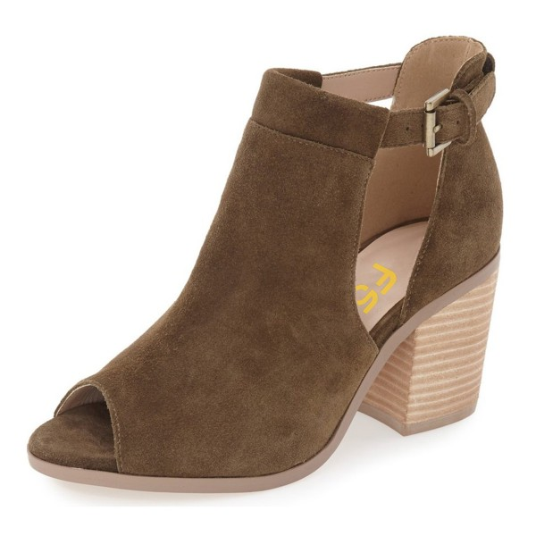 FSJ Brown Cut Out Boots Suede Wooden Block Heel Peep Toe Ankle Boots image 2