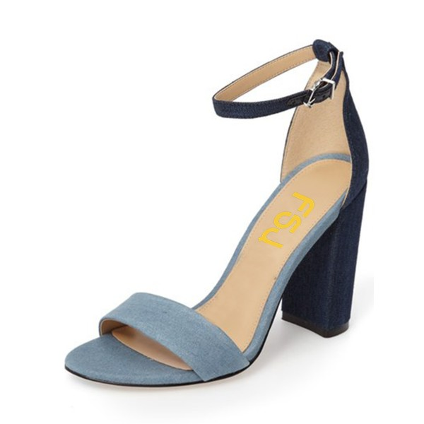 Denim Ankle Strap Sandals Open Toe Block Heels  image 1