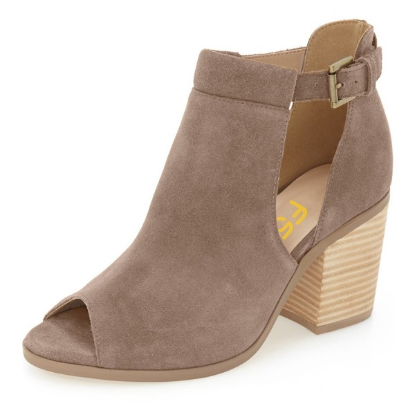 Women's Brown Chunky Heels Suede Peep Toe Heels Ankle Summer Boots ...