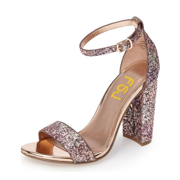 Pink Glitter Gradient Color Dazzling Chunky Heels Sandals image 1