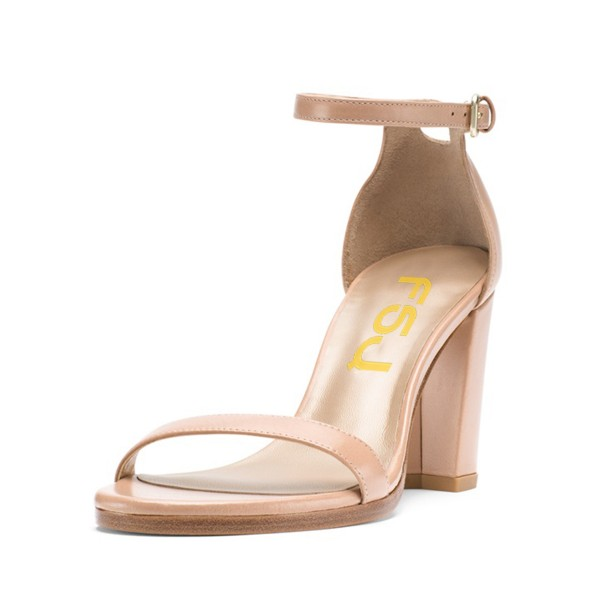 Women's Nude Open Toe Chunky Heel  Ankle Strap Sandals image 1