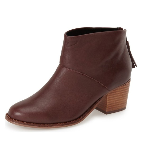 Women's Maroon Tassels Zipper Commuting Chunky Heels Ankle Booties image 1