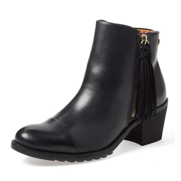 Women's Black Tassels Side Zipper Work Ankle Vintage Boots image 1