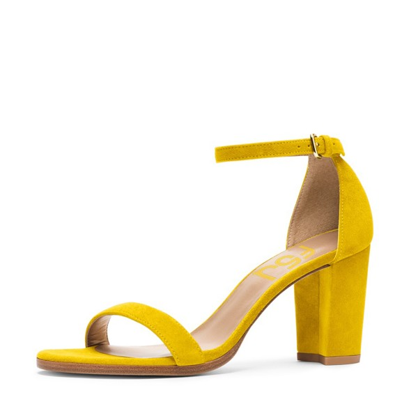 FSJ Yellow Suede Ankle Strap Sandals Open Toe Chunky Heels for Date ...