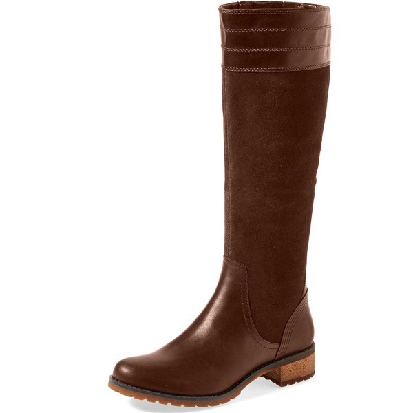 Brown Riding Boots Side Zipper Round Toe Low Heel Knee Boots image 1
