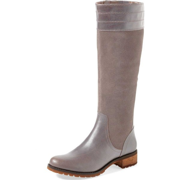 Grey Knee Boots Round Toe Comfortable Riding Boots by FSJ image 1