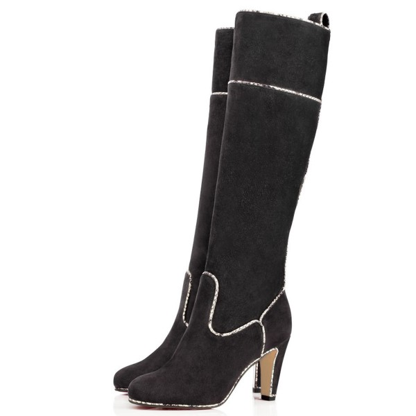Dark Grey Long Boots Suede Chunky Heel Knee-high Boots image 1