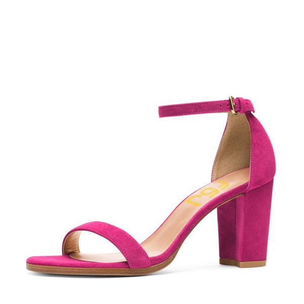 Hot Pink Block Heel Sandals Ankle Strap Heels for Date, Going out ...
