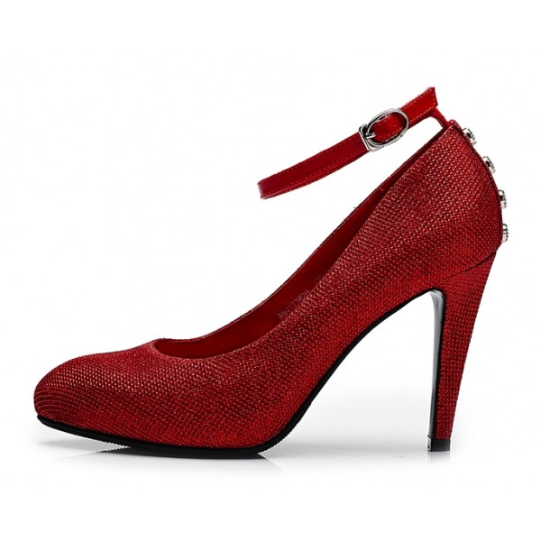 Women's Red Ankle Strap Heels Dress Shoes Closed Toe Pumps for Big Day image 2