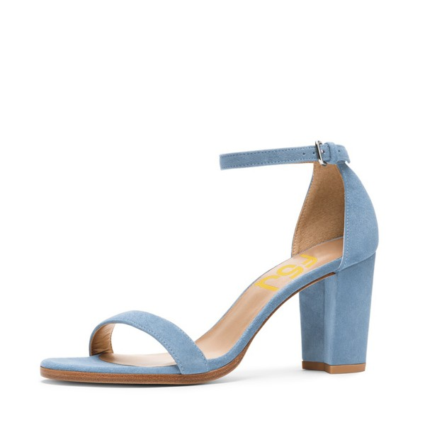 Light Blue Suede Ankle Strap Sandals Open Toe Chunky Heel Sandals image 1  ...