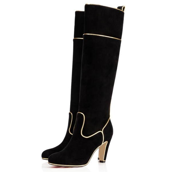 Black Long Boots Suede Chunky Heel Knee-high Boots image 1
