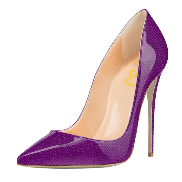 FSJ Purple Stiletto Heels Patent Leather Pointy Toe Pumps for Women image 1