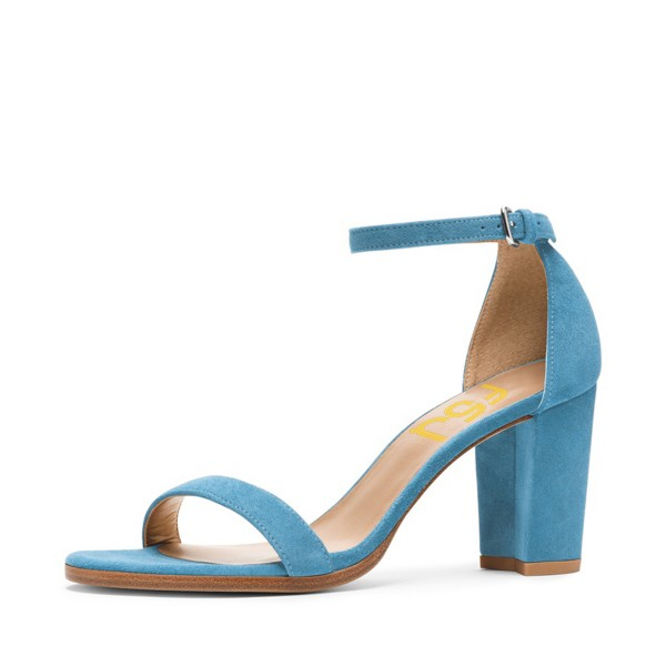 Blue Ankle Strap Sandals Suede Open Toe Block Heels for Ladies image 1