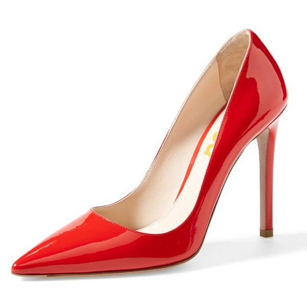 Women S 3 Inch Heels C Red Low Cut Stiletto Office Shoes Image