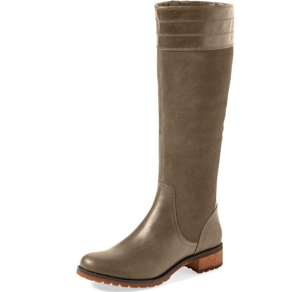 Green Riding Boots Side Zipper Round Toe Low Heel Knee Boots image 1