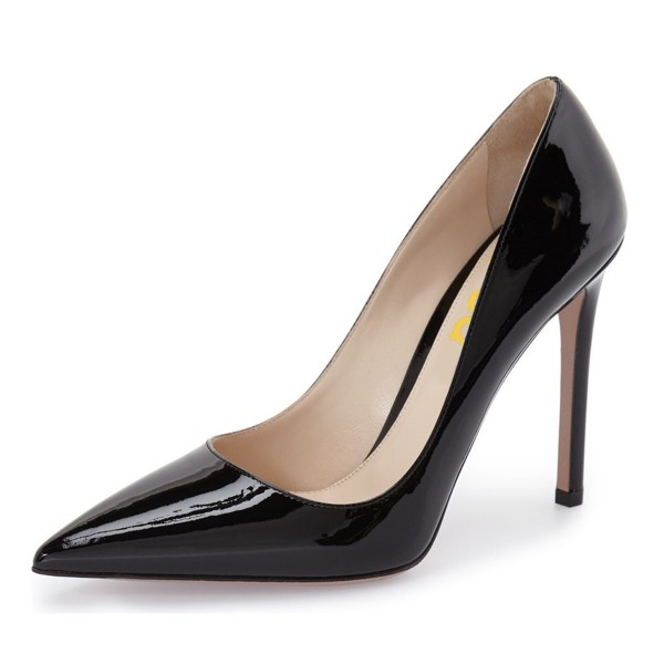 Women's Black Dress Shoes Pointy Toe Stilettos Heels Office Shoes image 1