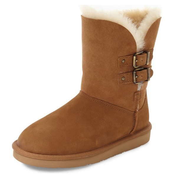 Tan Winter Boots Round Toe Flat Comfy Mid Calf Snow Boots US Size 3-15 image 1