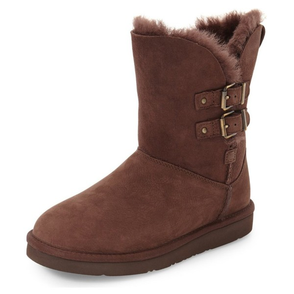 Brown Winter Boots Round Toe Flat Comfy Mid Calf Snow Boots image 1