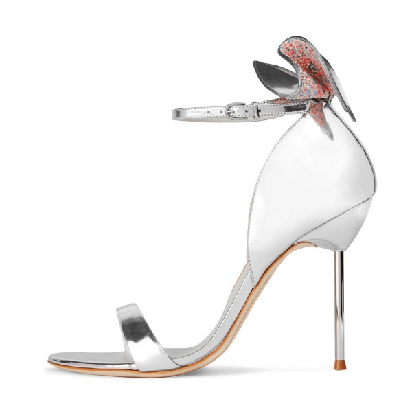 Silver Bridal Sandals Ankle Strap Mirror Leather Stiletto Heels with Bow image 1