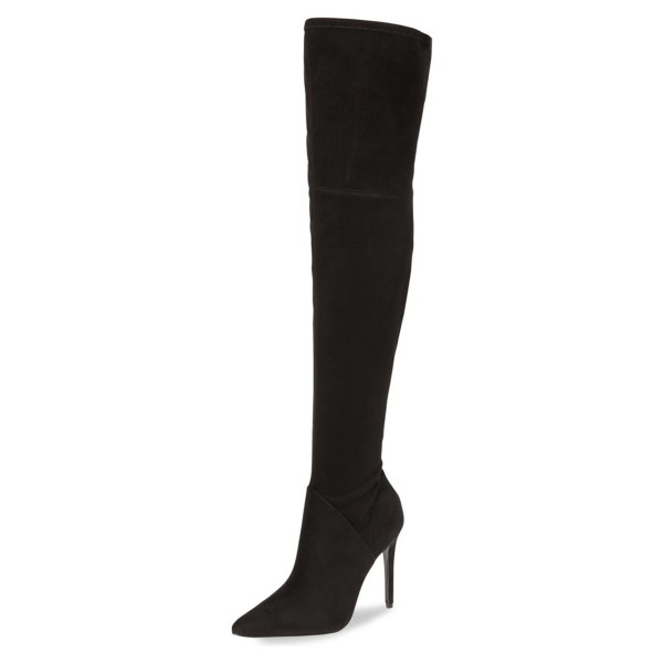 Black Stiletto Heels Pointy Toe Suede Sexy Over-the-knee Boots  image 1
