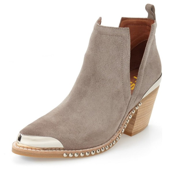 Taupe Cut Out Boots Suede Metal Pointy Toe Studs Short Boots image 1