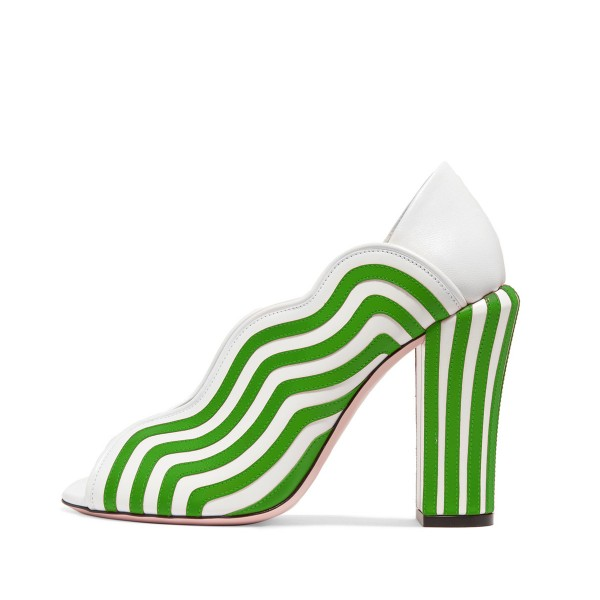 Women's Green and White Stripes Peep Toe Chunky Heels Shoes image 1