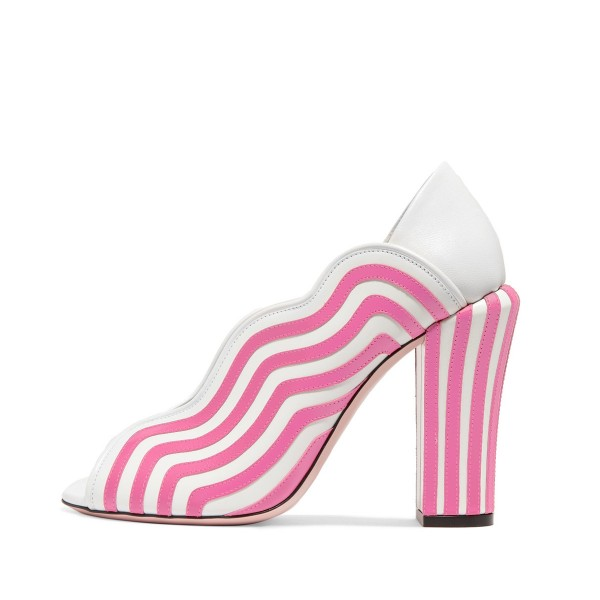 Pink Stripes Peep Toe Heels Block Heel Pumps image 1