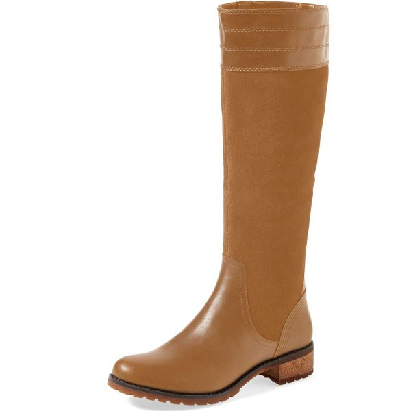 Tan Riding Boots Side Zipper Round Toe Low Heel Knee Boots image 1