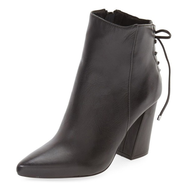 Black Chunky Heel Boots Pointy Toe Back Lace-up Ankle Booties image 1