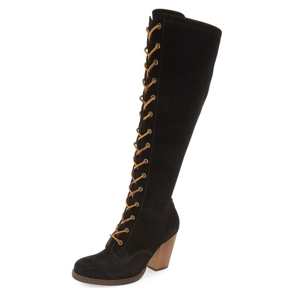 Black Lace up Boots Suede Knee-high Chunky Heels image 1